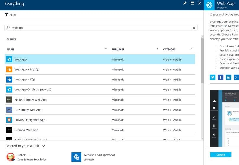 Select a new web app in Azure