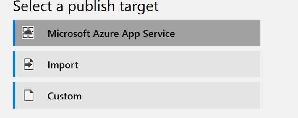 Select a publish target in Azure